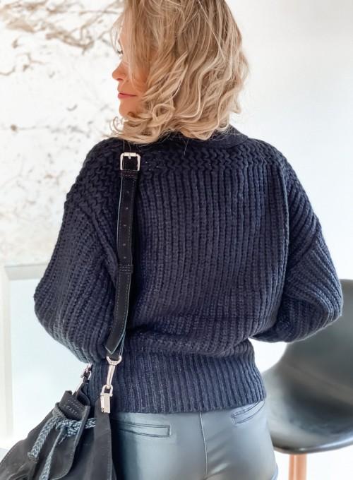 Wiązany sweter typu kardigan w kolorze czarnym 5