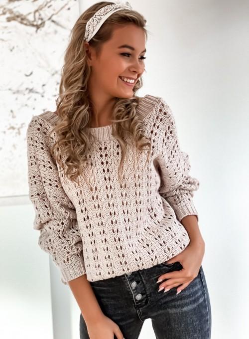 Sweter Karmen beżowy 2