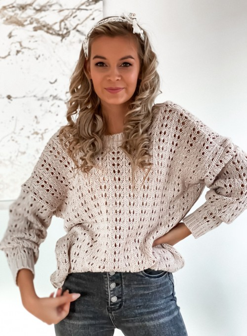 Sweter Karmen beżowy 3