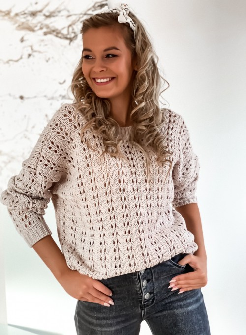 Sweter Karmen beżowy 4
