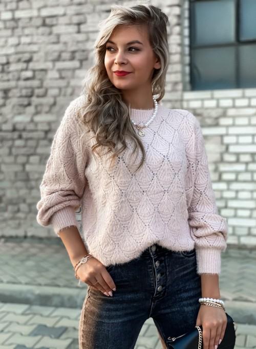 Sweter ażurkowy Nancy pudrowy