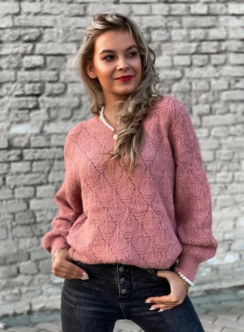 Sweter ażurkowy Nancy brudny róż