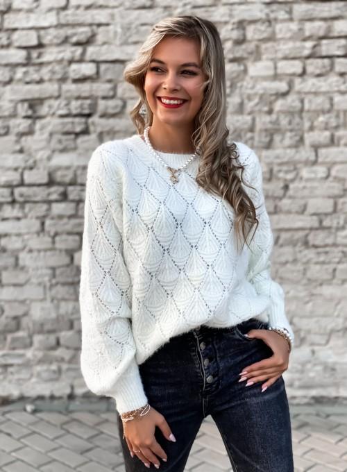 Sweter ażurkowy Nancy śmietankowy