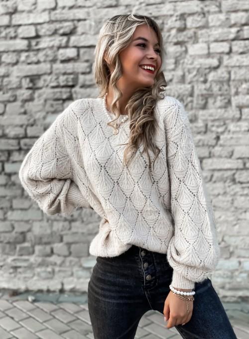 Sweter ażurkowy Nancy beżowy