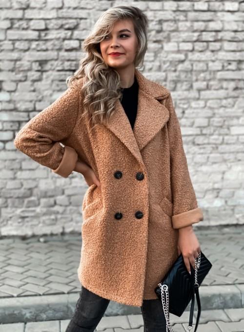 Płaszcz Baby buklowy kolor karmelowy