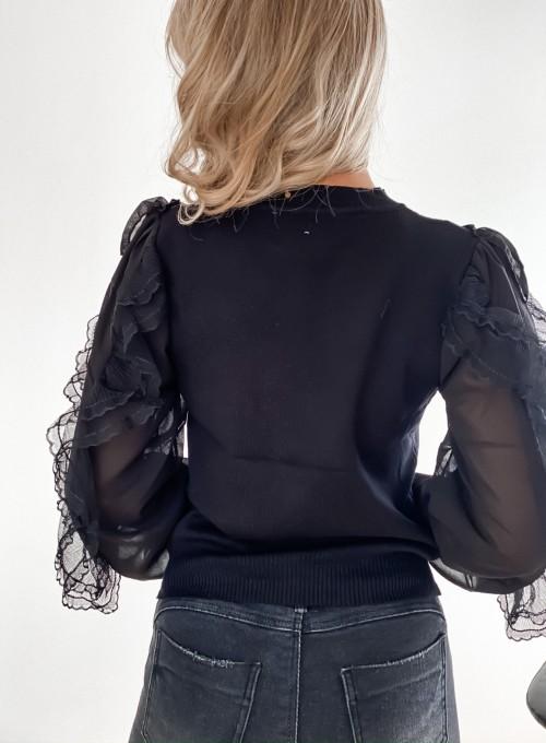 Bluzka z tiulowym rękawem czarna 2