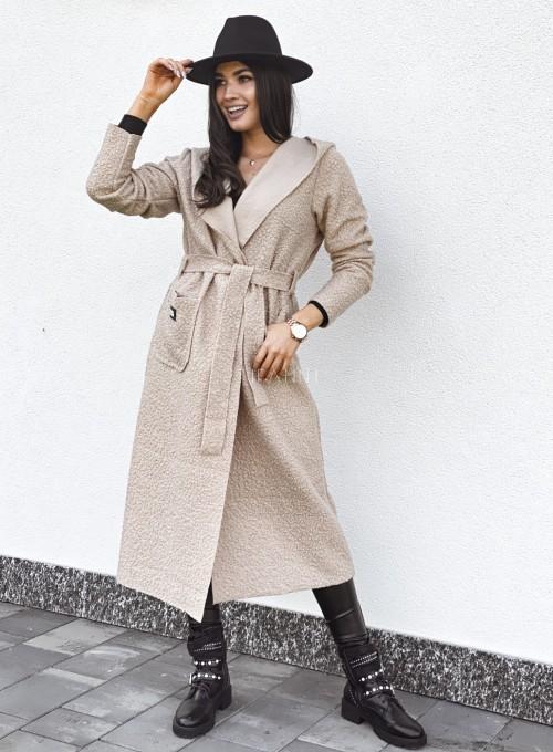 Płaszcz buklowy Lirene w kolorze beżowym