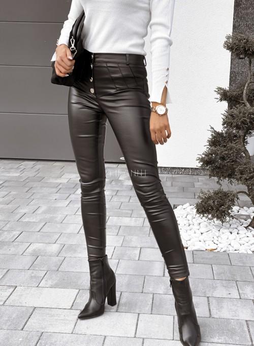 Spodnie woskowane Buttons czarne