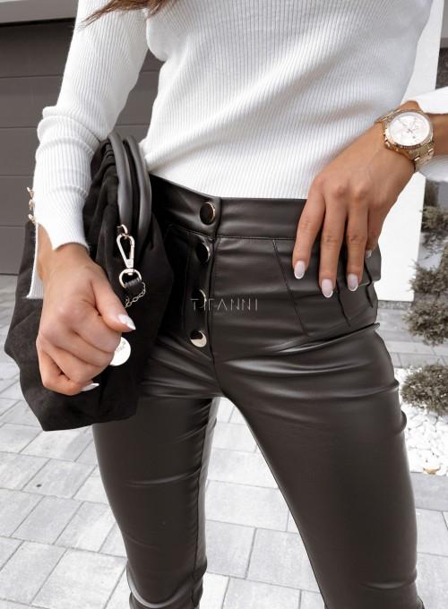 Spodnie woskowane Buttons czarne 3