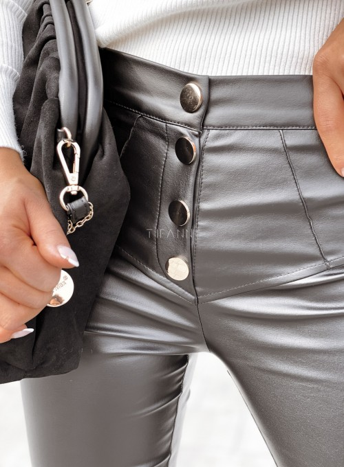 Spodnie woskowane Buttons czarne 5