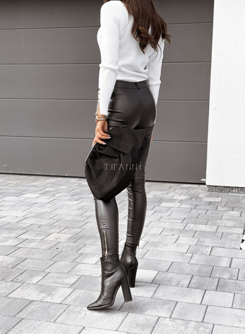 Spodnie woskowane Buttons czarne 6