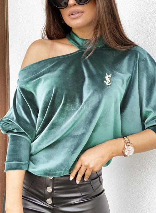 Welurowa bluzka Grace butelkowa zieleń 1