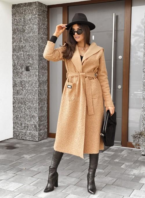 Płaszcz buklowy Lirene w kolorze Karmelowym 1