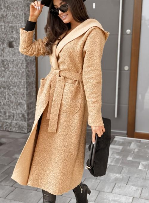 Płaszcz buklowy Lirene w kolorze Karmelowym 3