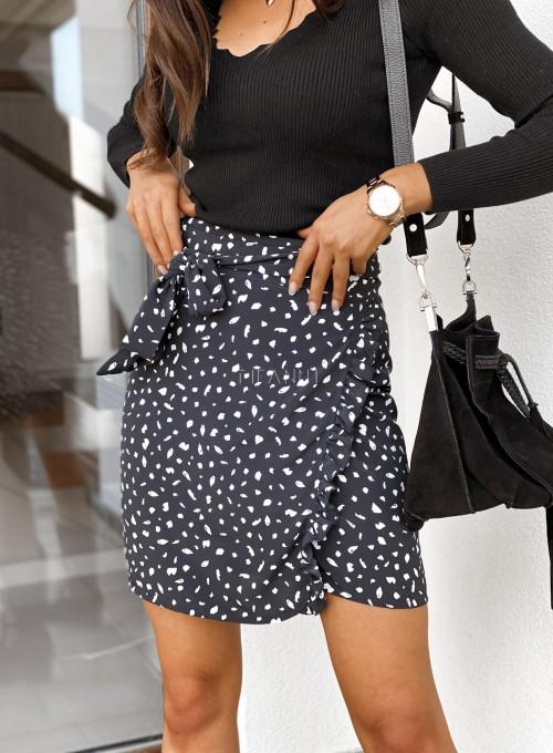 Spódnica Lampart czarna wiązana w pasie