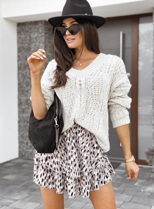 Sweter z dekoltem Paulo beżowy