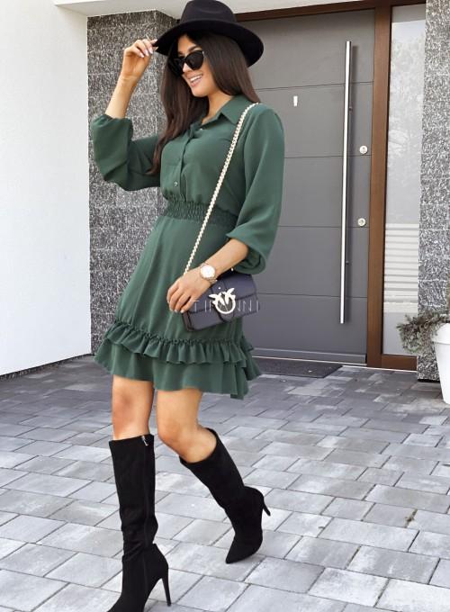 Sukienka Fame z kołnierzykiem i guzikami butelkowa zieleń 2