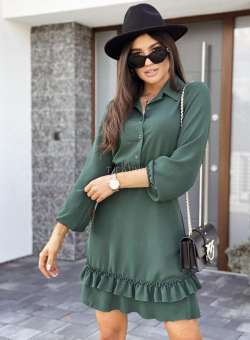 Sukienka Fame z kołnierzykiem i guzikami butelkowa zieleń 1