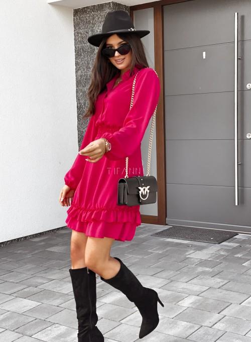 Sukienka Fame z kołnierzykiem i guzikami czerwona 2
