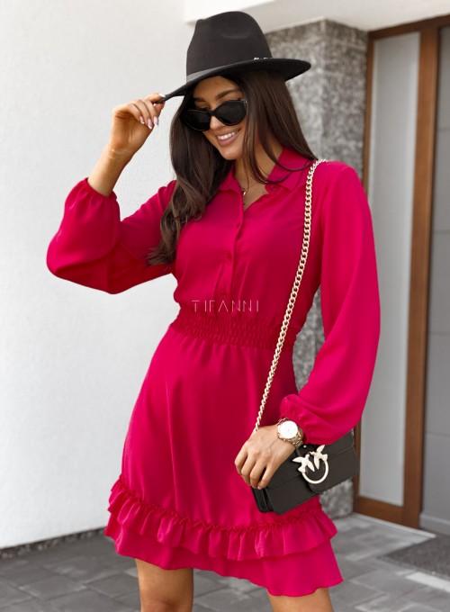 Sukienka Fame z kołnierzykiem i guzikami czerwona 1