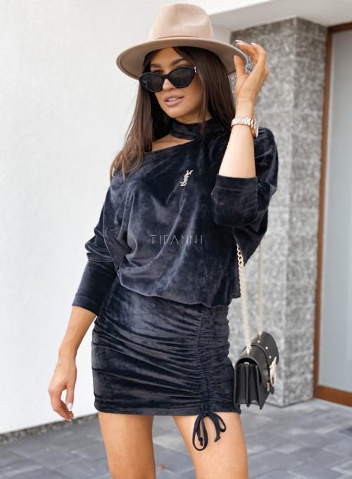 Welurowa sukienka Kenny czarna