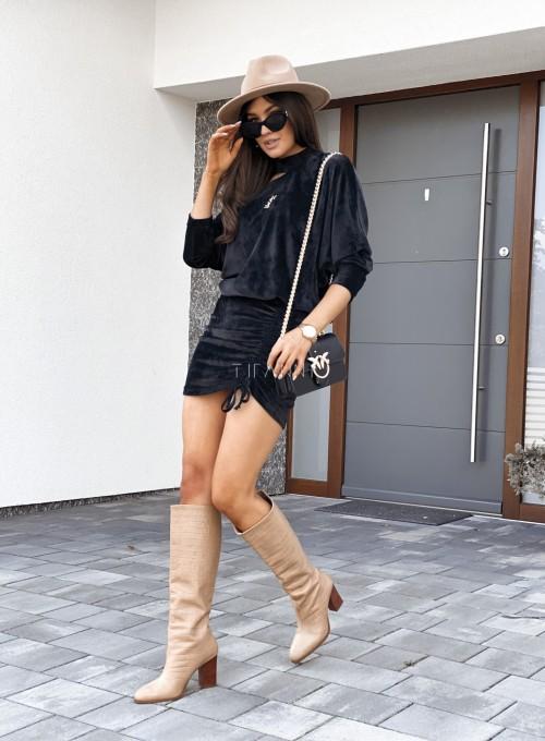 Welurowa sukienka Kenny czarna 3