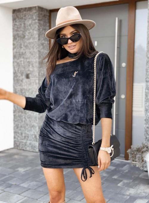 Welurowa sukienka Kenny czarna 2