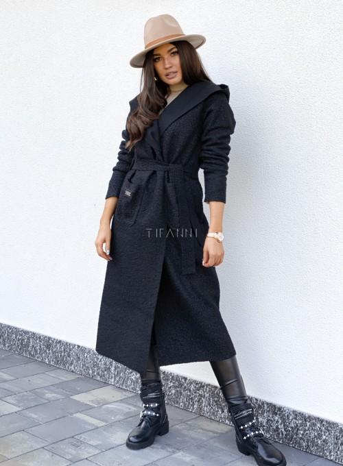 Płaszcz buklowy Lirene w kolorze czarnym