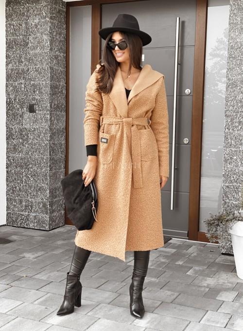 Płaszcz buklowy Lirene w kolorze Karmelowym