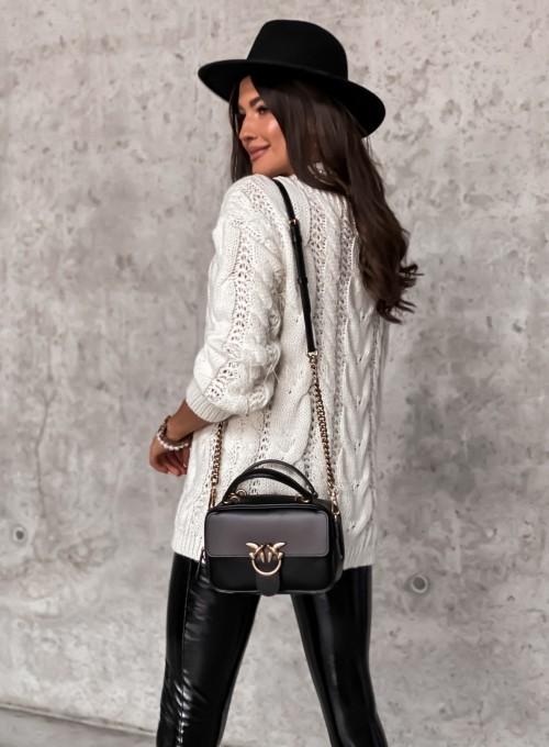 Sweter z warkoczem Elton śmietankowy 5