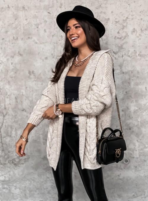 Sweter kardigan z kapturem beżowy
