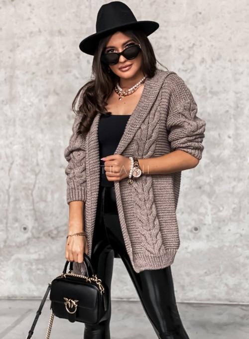 Sweter kardigan z kapturem ciemny beż