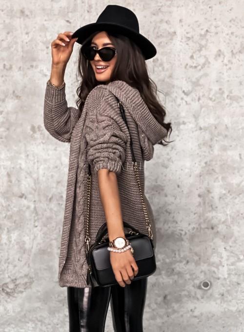 Sweter kardigan z kapturem ciemny beż 5