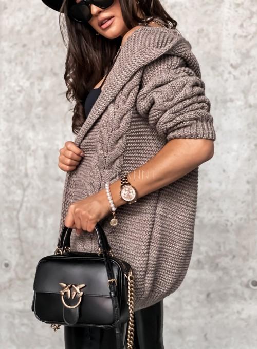 Sweter kardigan z kapturem ciemny beż 2