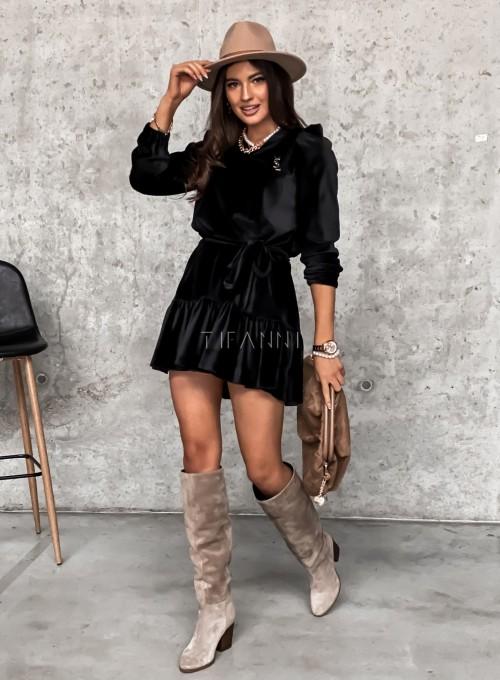 Welurowa czarna sukienka Princes 3
