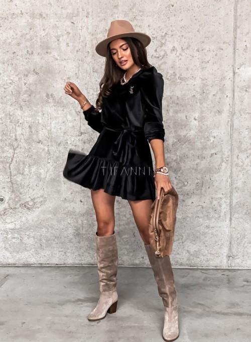 Welurowa czarna sukienka Princes 1