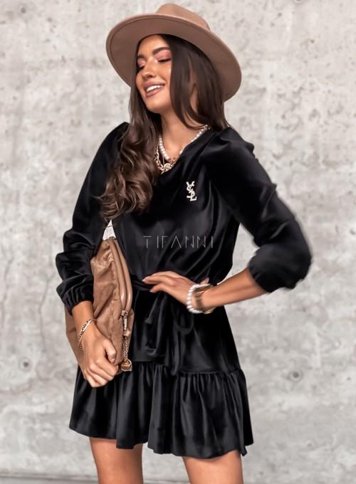 Welurowa czarna sukienka Princes 4