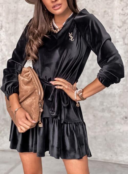 Welurowa czarna sukienka Princes 2
