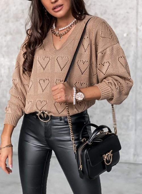 Ażurowy sweter Heart karmelowy 2
