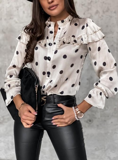 Bluzka Doretti w czarne grochy 1