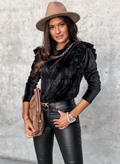 Welurowa bluzka Margo czarna