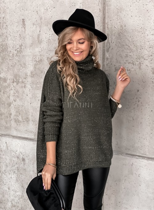Sweter golf ze srebrną nitką khaki 2