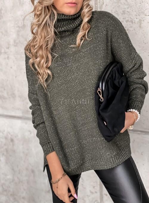Sweter golf ze srebrną nitką khaki 1
