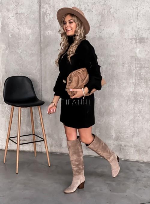 Swetrowa sukienka z golfem czarna 3