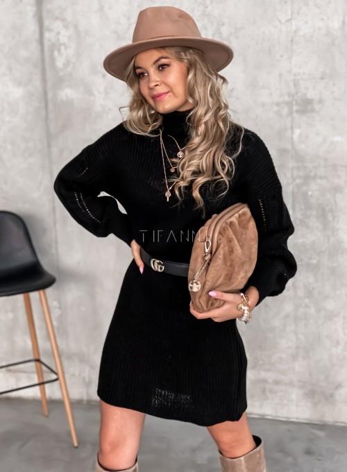 Swetrowa sukienka z golfem czarna 2