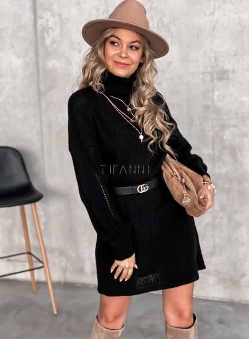 Swetrowa sukienka z golfem czarna 4