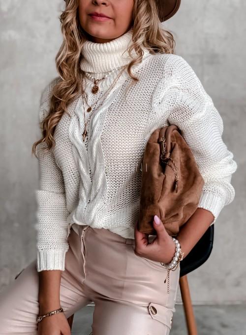 Sweter golf z przeplatanymi warkoczami śmietankowy 1