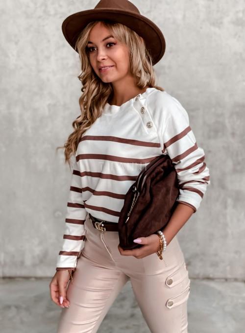 Sweter śmietankowy w karmelowe prążki 2