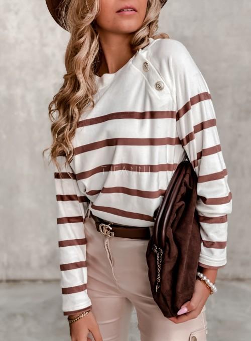 Sweter śmietankowy w karmelowe prążki 1