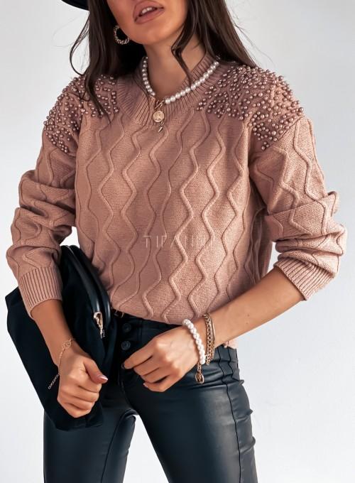 Sweter z perełkami na ramionach brudny róż 1